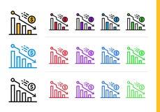 DECLINO lineare unico delle icone di finanza, contante Profilo moderno Fotografie Stock Libere da Diritti