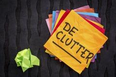 Declutter提示或忠告 库存图片