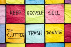 Declutter concept on sticky notes Royalty Free Stock Image