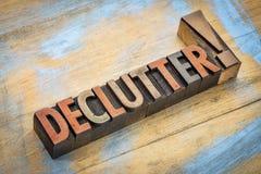 Declutter słowo w drewnianym typ Obrazy Stock