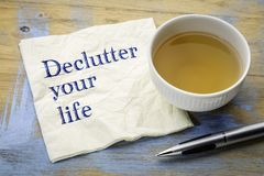 Declutter your life advice on napkin Royalty Free Stock Images