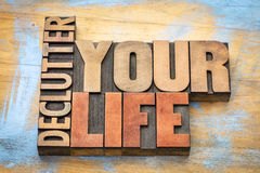 Declutter your life word abstract in wood type Royalty Free Stock Photography