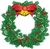 Deco Χριστουγέννων με την κόκκινη διανυσματική απεικόνιση κορδελλών Στοκ Εικόνες