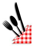Deco chef. Food utensils with a cloth Royalty Free Stock Photos