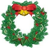 Deco di Natale con l'illustrazione rossa di vettore del nastro Fotografia Stock