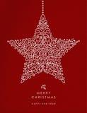 Deco för stjärna för översikt för lyckligt nytt år för glad jul stock illustrationer