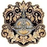 Deco floral richement décoré de rouleau de vintage de cadre baroque de conception illustration stock