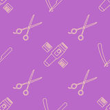 Deco hairdresser tools seamless pattern Royalty Free Stock Images