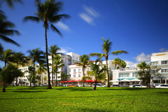 Deco hotels on Ocean Drive Stock Photos