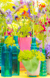 Deco with various summer flowers Stock Photography