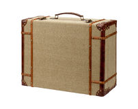 Deco Wood Burlap Suitcase with clipping path Royalty Free Stock Image