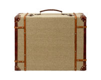 Deco Wood Burlap Suitcase with clipping path Stock Photo