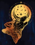 Decocrative hand drawn wolf howling at moon. Royalty Free Stock Image