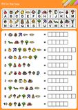 Decode alphabet, Fill in the box. Decode alphabet, Matching images and alphabet and fill in the box. - Worksheet for education vector illustration