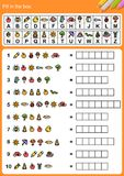 Decode alphabet, Fill in the box. Decode alphabet, Matching images and alphabet and fill in the box. - Worksheet for education royalty free illustration