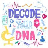 Decodeer uw DNA-het van letters voorzien voor affiches, kaart Vector wetenschappelijk m royalty-vrije illustratie