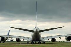 Decolagem de espera de Airbus 380 Fotografia de Stock