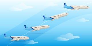 Decolagem plana Fases da decolagem do avião Fotos de Stock Royalty Free