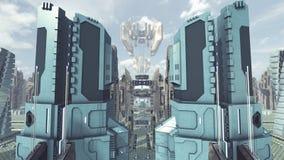Decole de uma cidade futurista do scifi rendição 3d ilustração royalty free