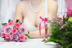 Decollete of bride wearing white dress Royalty Free Stock Photos