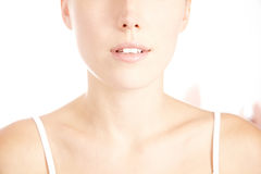 Decollete of woman with flawless skin. Decollete of young attractive woman with perfect flawless skin Stock Photos