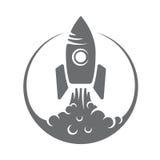 Decollo del razzo di logo dell'illustrazione di vettore, fumo illustrazione di stock