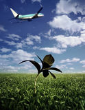 Decollo dell'aeroplano Fotografie Stock Libere da Diritti