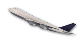 Decollo piano del Jumbo-jet commerciale, aereo su bianco Fotografie Stock