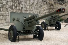 Decomissioned war canons in Budapest on display Royalty Free Stock Photos