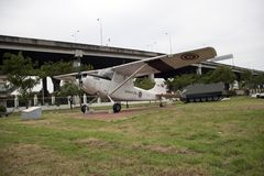 Decommission Plane of Thai Army place outdoor at National Memorial to commemorate next Generation. Lam Luk Ka, Pathumthani,Thailand November 5, 2017 Royalty Free Stock Photos