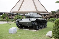 Decommission tank of Thai Army place outdoor at National Memorial to commemorate next Generation. Lam Luk Ka, Pathumthani,Thailand November 5, 2017 Royalty Free Stock Photo