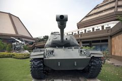 Decommission tank of Thai Army place outdoor at National Memorial to commemorate next Generation. stock photo