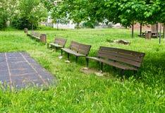 Decomponga, bench nel parco in mezzo ad erba alta Immagine Stock Libera da Diritti