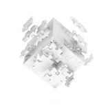 Decomposed cube of puzzle Stock Images