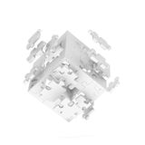 Decomposed cube of puzzle. On white background Royalty Free Stock Photo