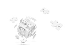 Decomposed cube of puzzle Stock Photos