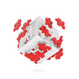 Decomposed cube of puzzle Royalty Free Stock Images