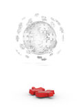 Decomposed cube of puzzle and red element Royalty Free Stock Images