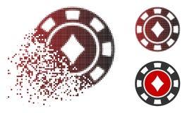 Decomposed Dot Halftone Diamonds Casino Chip Icon. Diamonds casino chip icon in dispersed, dotted halftone and undamaged whole variants. Elements are arranged stock illustration