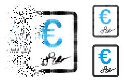 Decomposed Dotted Halftone Euro Signed Contract Icon. Euro signed contract icon in dispersed, pixelated halftone and whole variants. Pieces are organized into vector illustration