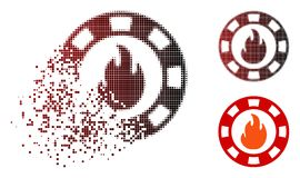 Decomposed Dotted Halftone Fire Casino Chip Icon. Fire casino chip icon in dissolved, dotted halftone and undamaged solid versions. Particles are composed into stock illustration