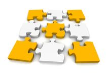 Decomposed jigsaw puzzle Stock Photography