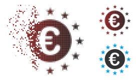 Decomposed Pixel Halftone Euro Union Stars Icon stock illustration