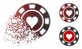 Decomposed Pixelated Halftone Hearts Casino Chip Icon. Hearts casino chip icon in sparkle, pixelated halftone and undamaged entire variants. Pixels are combined royalty free illustration