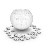 Decomposed sphere of puzzle. On white background Royalty Free Stock Photography