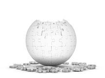 Decomposed sphere of puzzle. On white background Royalty Free Stock Photo