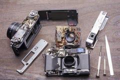 Decomposto di vecchia macchina fotografica fotografia stock