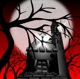 Deconsecrated church in a forest with moon Stock Image