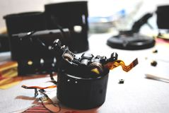 Camera equipment under repair royalty free stock photos