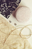 Deconstructed millinery materials lace and hat block Royalty Free Stock Images